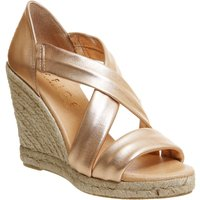 Office Holiday Cross Front Espadrille Wedges, Rose Gold
