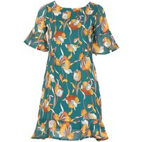 TENKI Half Sleeve Floral Ruffle Dress, Green