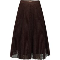Jolie Moi Lace Pleated A-line Skirt, Brown