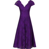 Jolie Moi Jolie Moi cap Sleeve Fit & Flare Lace Dr, Purple