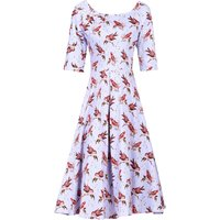 Jolie Moi Floral Print Half Sleeved Swing Dress, Lilac - Lilac Gifts