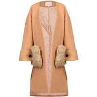 Jolie Moi Faux Fur Pockets Quilted Inner Coat, Camel