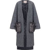 Jolie Moi Faux Fur Pockets Quilted Inner Coat, Grey