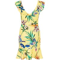 Quiz Quiz Yellow Floral Print Frill Dress, Yellow