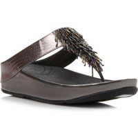 FitFlop Cha cha beaded fringe toe post sandals, Silver