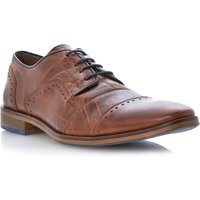 Dune Boycy Blue Detail Punched Toe Brogues, Tan