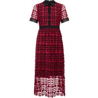 James Lakeland Lace Shirt Neck Dress, Red