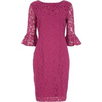 Roman Originals Frill Sleeve Lace Shift Dress, Hot Pink - Seek Gifts