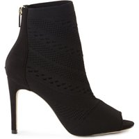 Karen Millen Knitted Peep-Toe Shoe Boots, Black