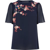 Oasis Embroidered Angel Sleeve Top, Blue