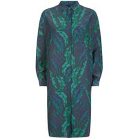 Jaeger Banana Leaf Print Dress, Green