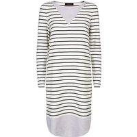 Jaeger Jersey Breton Stripe Dress, White