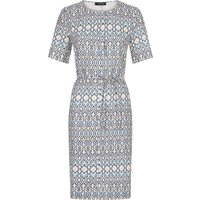 Jaeger Linen Belted Placket Dress, Blue