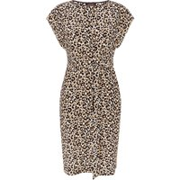 Jaeger Leopard Print Silk Wrap Dress, Multi-Coloured