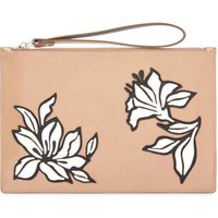 Jaeger Florence Leather Floral Clutch, Nude