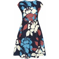 Jaeger Floral Silhouette Fit And Flare Dress, Multi-Coloured