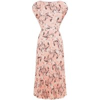 Jaeger Floral Print Sunray Pleated Dress, Pink