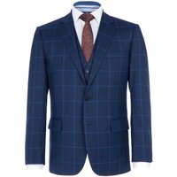 Mens Paul Costelloe Neale Checked Wool Suit Jacket, Blue