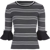 Jane Norman Monochrome Stripe Flute Sleeve Jumper, Multi-Coloured
