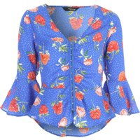 Jane Norman Floral Flare Sleeve Top, Blue Print - Floral Gifts