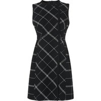 L.K.Bennett Zuri Black Check Wool Mix Dress, Black Multi