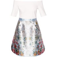 Ted Baker Dewrose Patchwork Bardot Dress, Blue