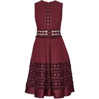 Ted Baker Olym Lace Detail Textured Dress, Maroon