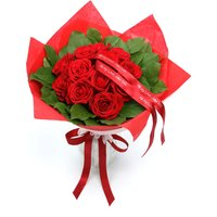 Floric Red rose & salal bouquet, Red