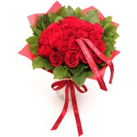 Floric Luxury red rose & salal bouquet, Red