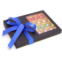 Floric Luxury chocolate truffles with dark blue bow, Blue