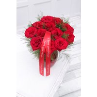 Floric Dozen Rose & Vase with Personalised Ribbon