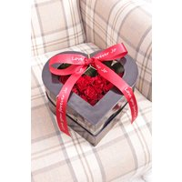 Floric Red Heart Box With Personalised Ribbon, Red