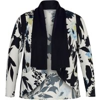 Chesca Floral Print Shrug with Trim, White