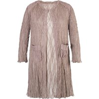 Chesca Pale Mink Matt Satin Lace Short Coat, Brown