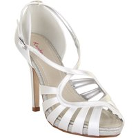 Rainbow Club Cassie strappy satin sandal heel shoes, White