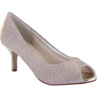 Rainbow Club Iona metallic peep toe court shoes, Silverlic