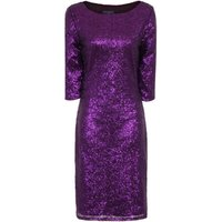 HotSquash Long Sleeved Dress With Sequin Trim, Purple