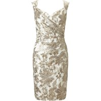 Ariella Elsa wrap lace shift dress, Gold