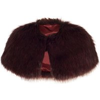 Chesca Faux Fur Luxury Shrug, Red