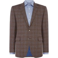 Mens Chester Barrie Wool, Silk And Linen Check Jacket, Brown