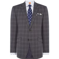 Mens Simon Carter Highlight Check Grant Suit Jacket, Grey