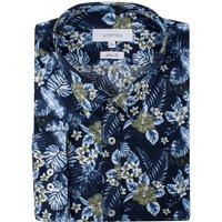 Men's Limehaus Navy Hawaiian Print Forward Point Shirt, Blue - Hawaiian Gifts