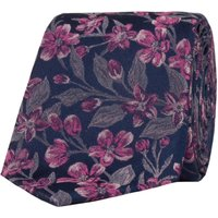 Alexandre of England Cardon Navy Pink Floral Tie, Blue