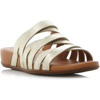 FitFlop Lumy slide multi strap wedge sandals, Gold Silverlic