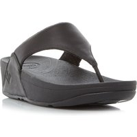 FitFlop Lulu Plain Toepost Sandals, Black Leather