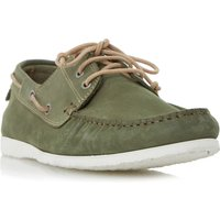 Dune Belize lace up boat shoe, Khaki