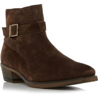 Bertie Cubaa buckle cuban heel boots, Dark Brown - Shoes Gifts