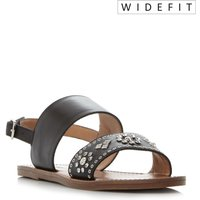 da4a0eebcec Save 60% - Dune Luma Wide Fit Stud Strap Flat Sandals Black