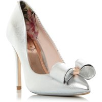 Ted Baker Azeline Bow Trim Pointed Court Shoes, Silver