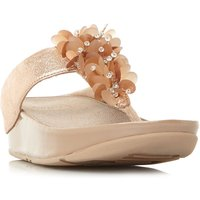 FitFlop Boogaloo Embellished Toepost Sandals, Rose Gold